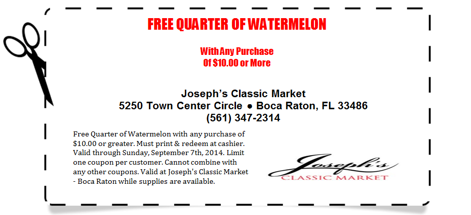 Free Quarter of Watermelon coupon - Expires 9.7.2014