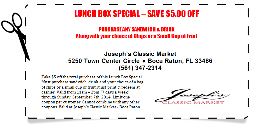 Lunch Box Special $5 off coupon - Expires 9.7.2014