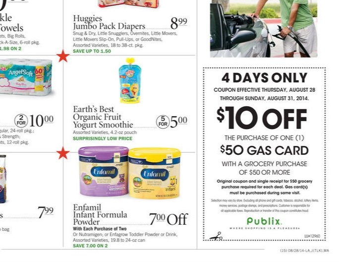 Publix $10 Off $50 Gas Card Expires Sunday August 31st 2014