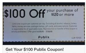 Facebook Publix Coupon Hoax