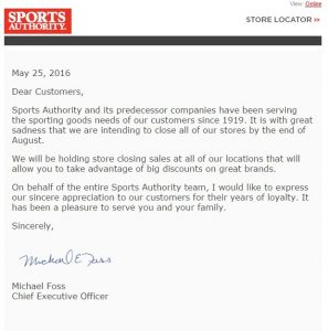 Sports Authority Email Notification May 2016
