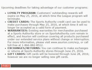 Sports Authority Email Notification. May 2016